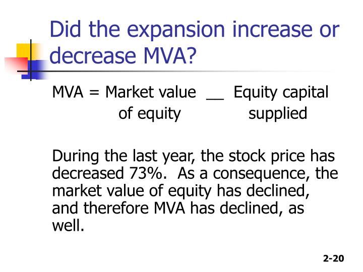 Did the expansion increase or decrease MVA?