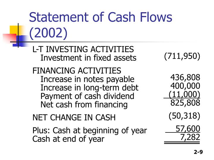 Statement of Cash Flows (2002)