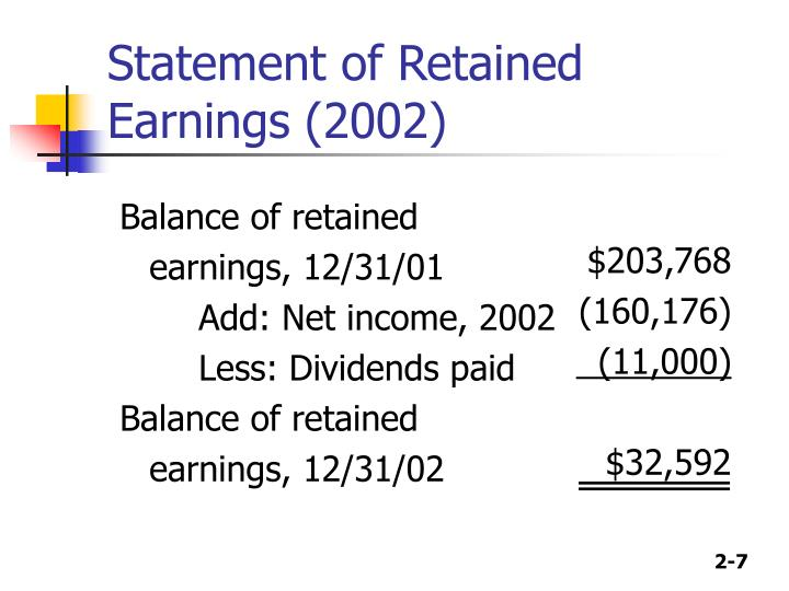 Statement of Retained Earnings (2002)