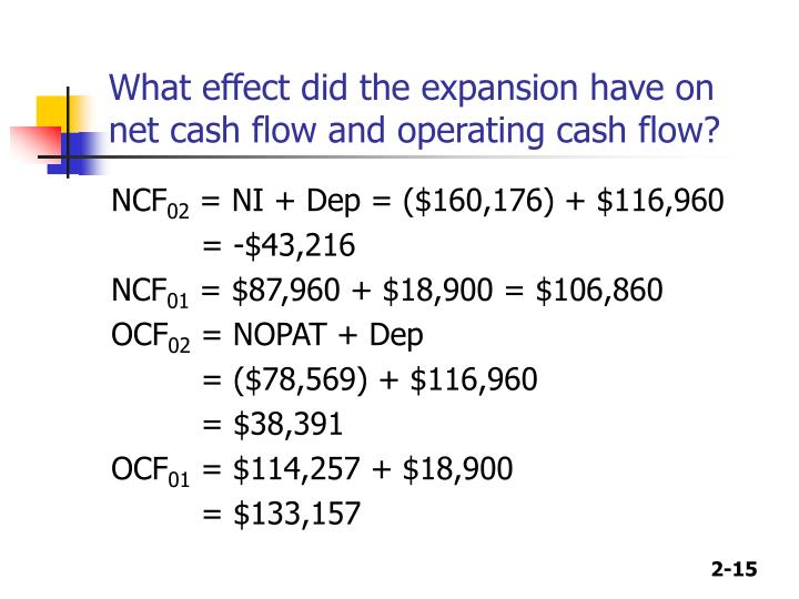 What effect did the expansion have on net cash flow and operating cash flow?