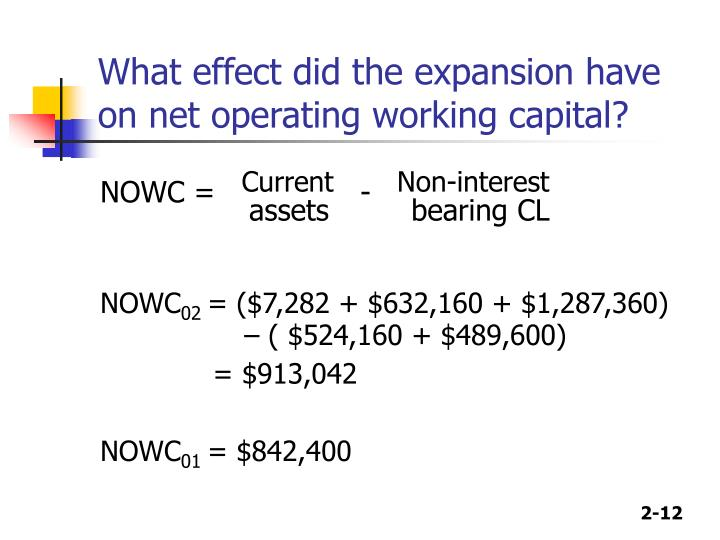 What effect did the expansion have on net operating working capital?