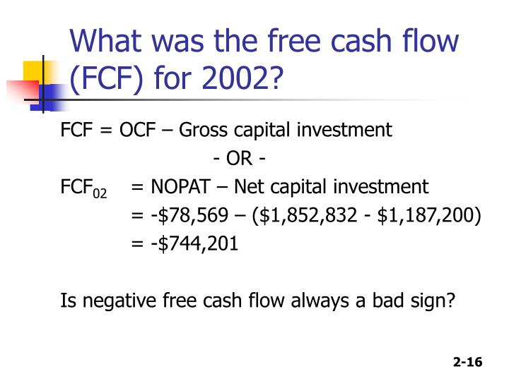 What was the free cash flow (FCF) for 2002?