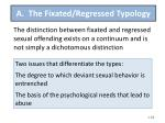 a the fixated regressed typology