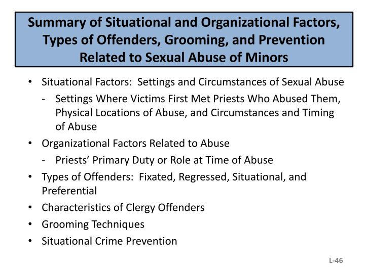 Summary of Situational and Organizational Factors, Types of Offenders, Grooming, and Prevention