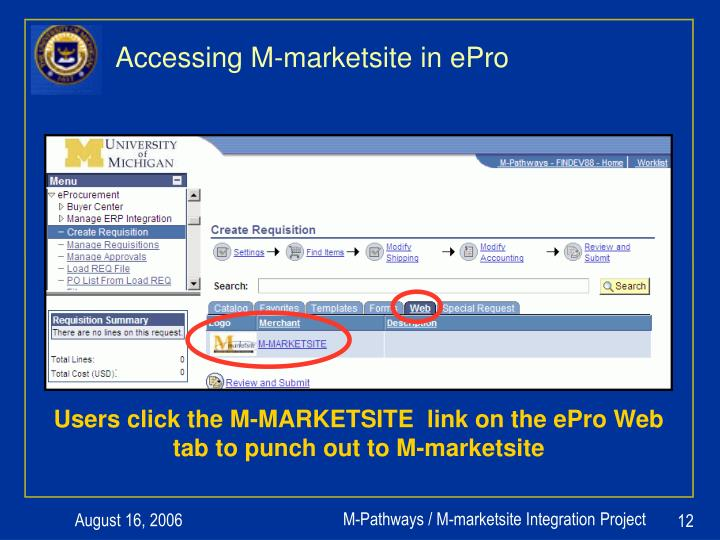 Accessing M-marketsite in ePro