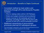 introduction benefits to depts continued