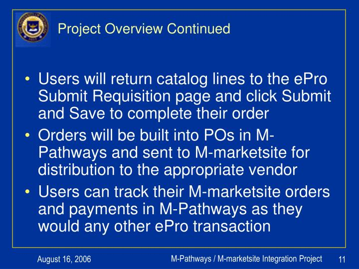Project Overview Continued