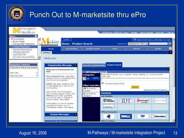 Punch Out to M-marketsite thru ePro