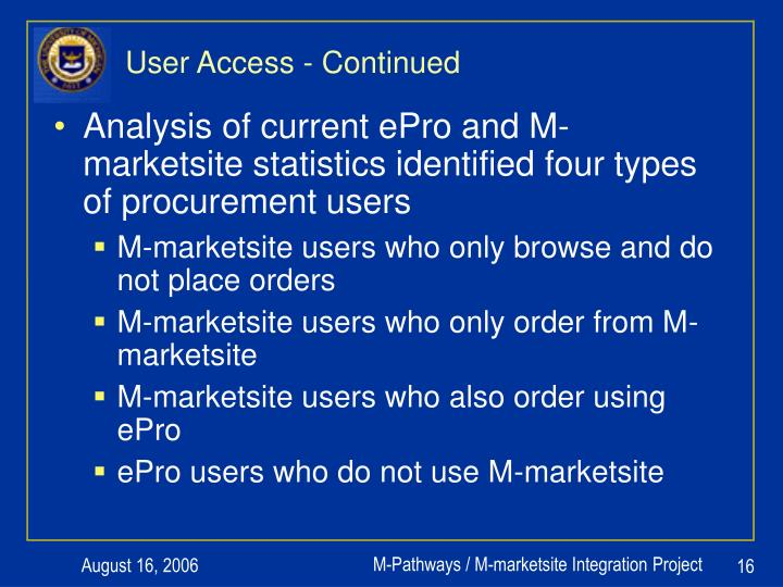 User Access - Continued