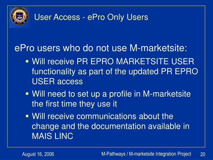 User Access - ePro Only Users