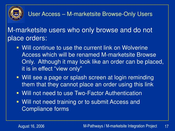User Access – M-marketsite Browse-Only Users