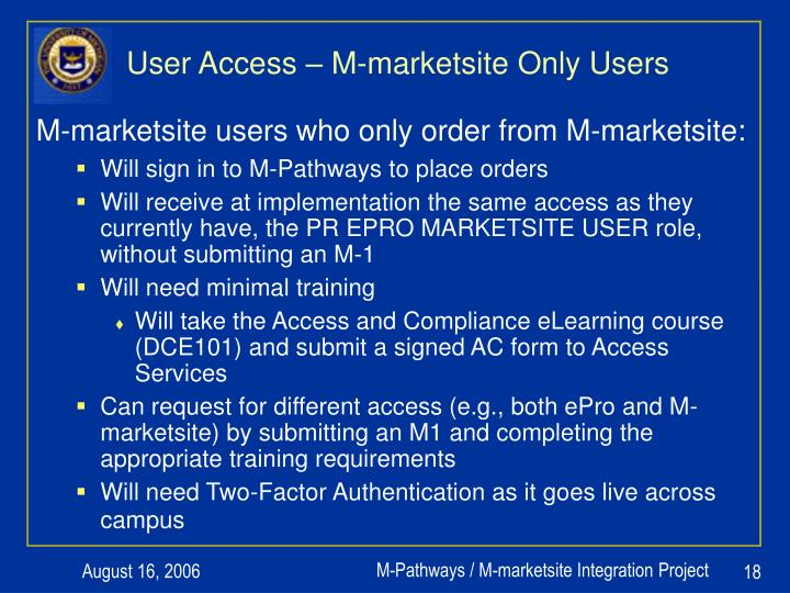 User Access – M-marketsite Only Users