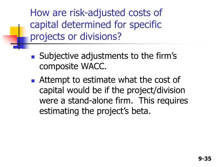 How are risk-adjusted costs of capital determined for specific projects or divisions?