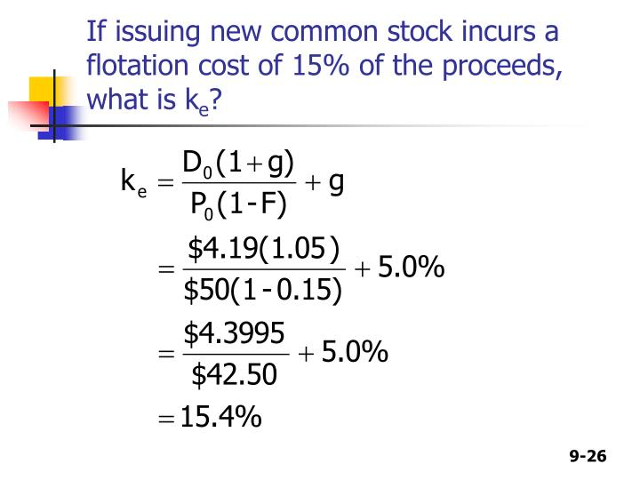 If issuing new common stock incurs a flotation cost of 15% of the proceeds, what is k