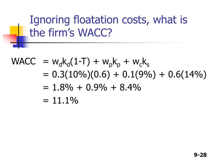 Ignoring floatation costs, what is the firm's WACC?