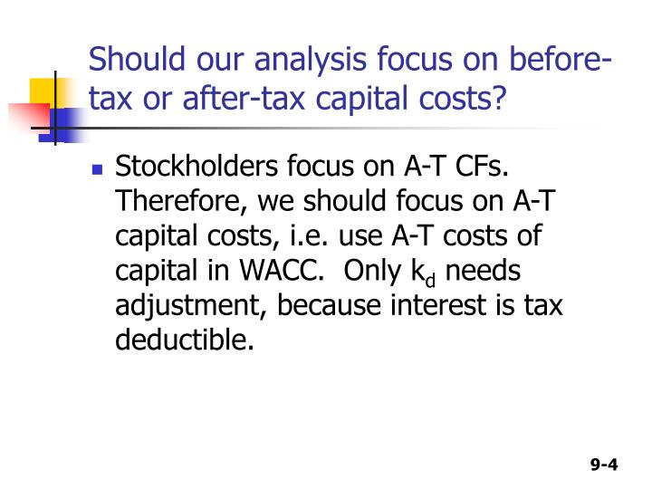 Should our analysis focus on before-tax or after-tax capital costs?