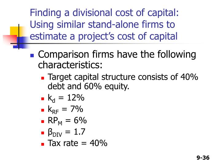 Finding a divisional cost of capital: