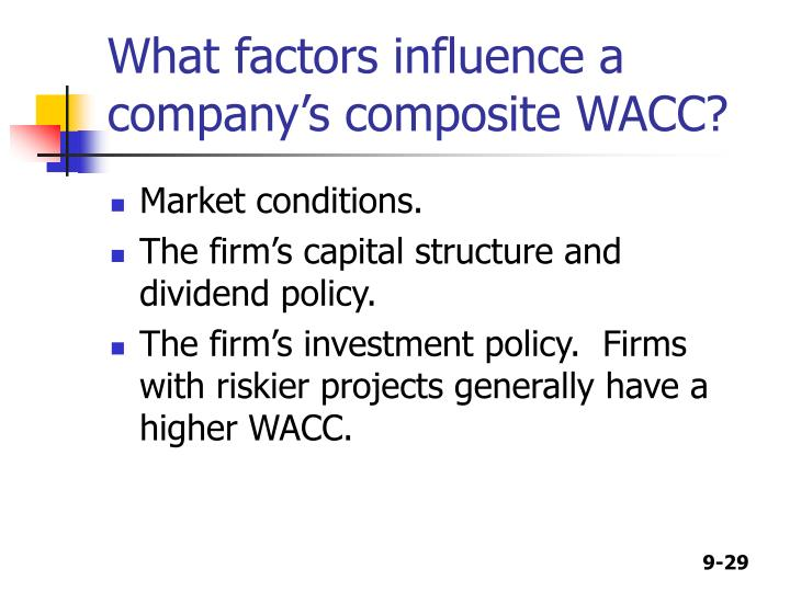 What factors influence a company's composite WACC?