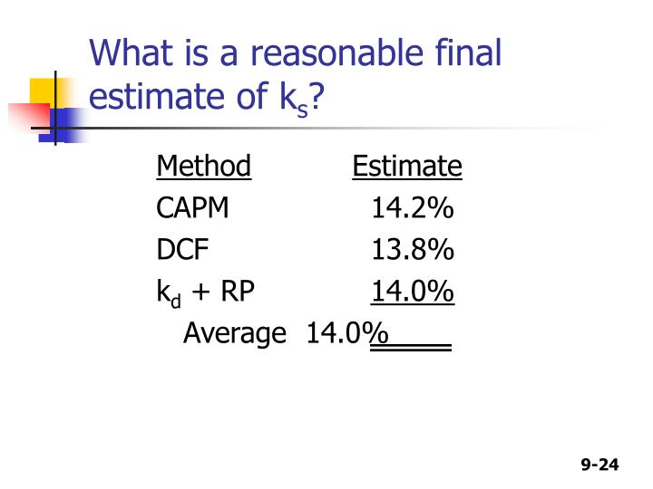 What is a reasonable final estimate of k