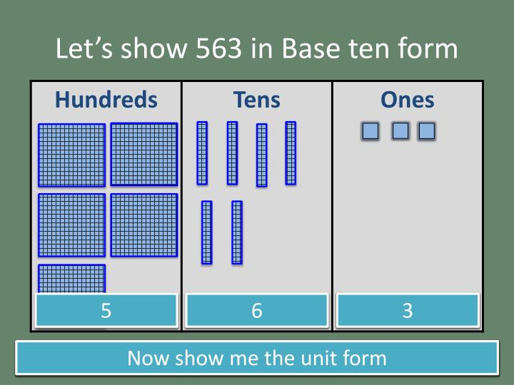Let's show 563 in Base ten form