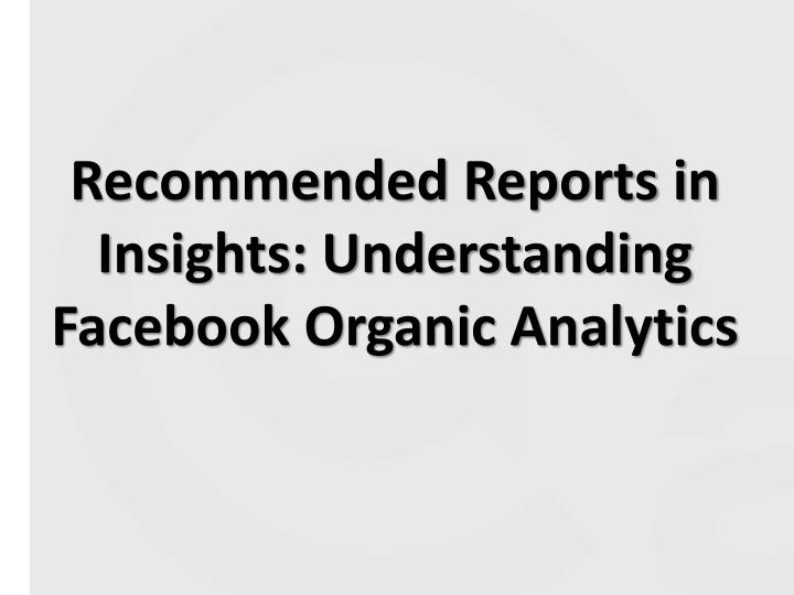 Recommended Reports in Insights: Understanding
