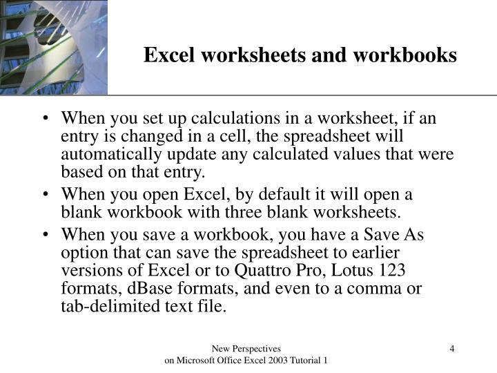 Excel worksheets and workbooks
