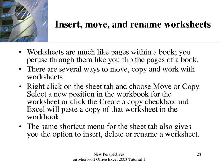 Insert, move, and rename worksheets