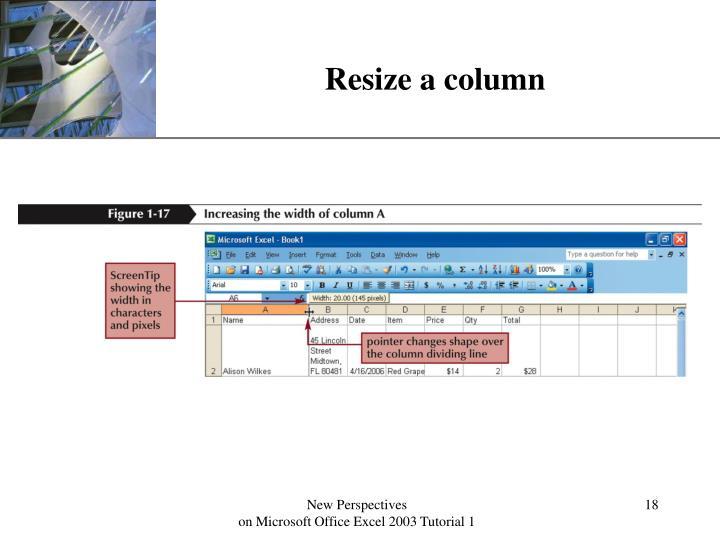 Resize a column