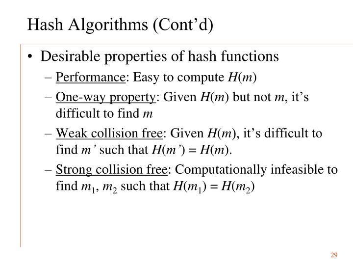 Hash Algorithms (Cont'd)