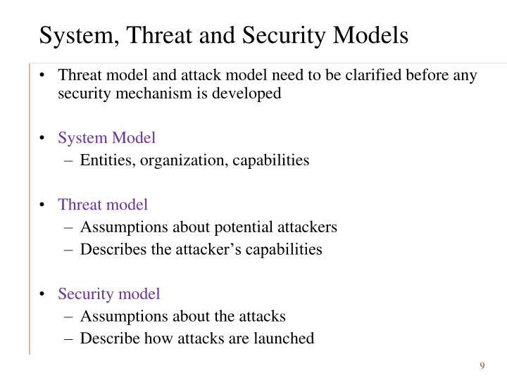 System, Threat and Security Models