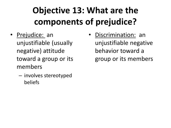 Objective 13: What are the components of prejudice?