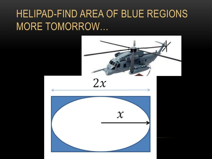 Helipad-find area of blue regions