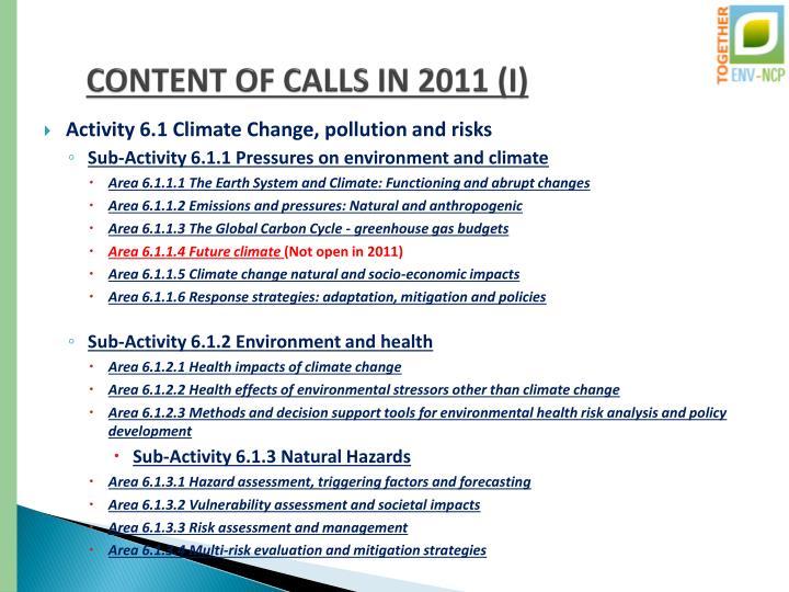 CONTENT OF CALLS IN 2011 (I)