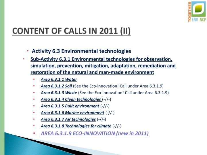 CONTENT OF CALLS IN 2011 (II)