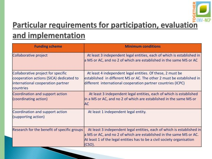 Particular requirements for participation, evaluation and implementation