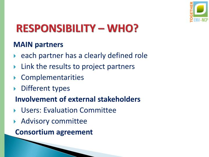 RESPONSIBILITY – WHO?
