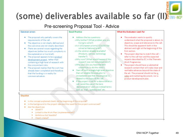 (some) deliverables available so far (II)