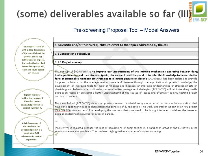 (some) deliverables available so far (III)