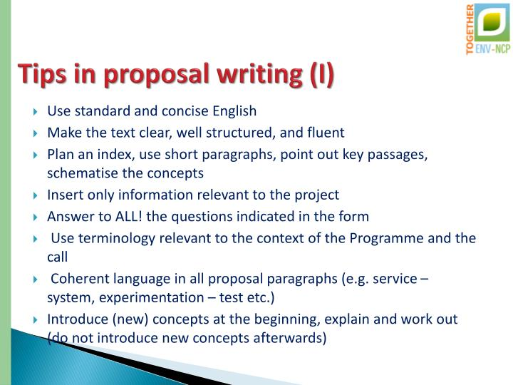 Tips in proposal writing (I)