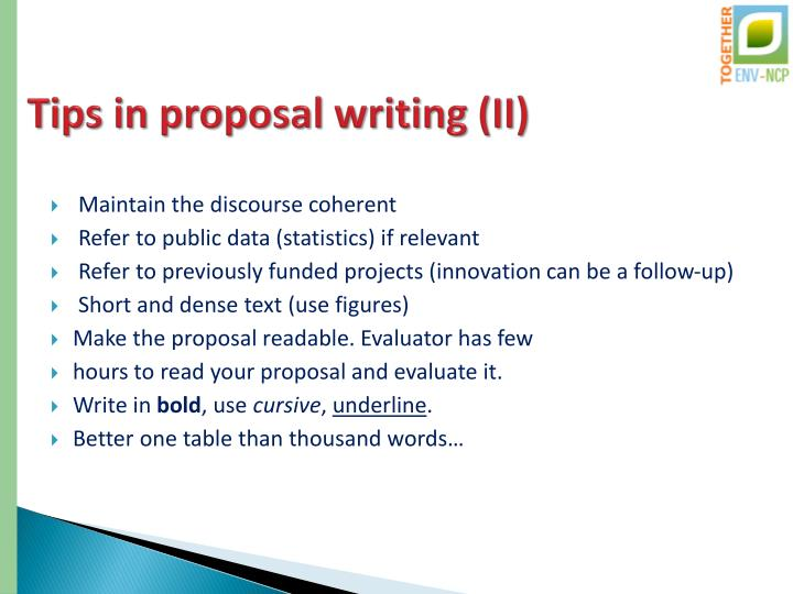 Tips in proposal writing (II)