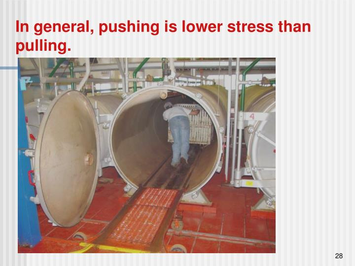 In general, pushing is lower stress than pulling.