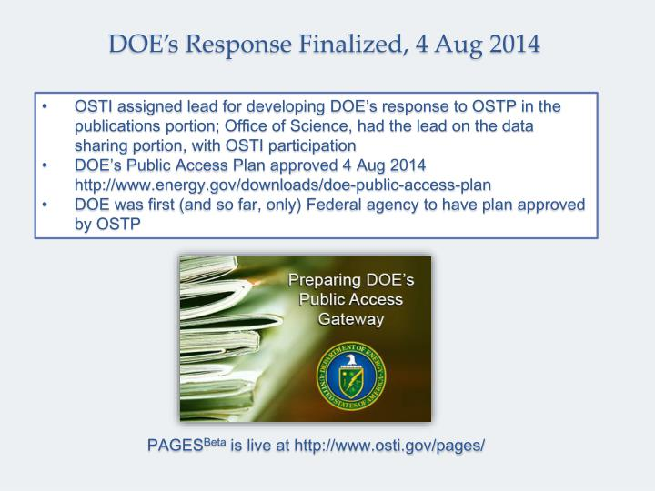 DOE's Response Finalized, 4 Aug 2014