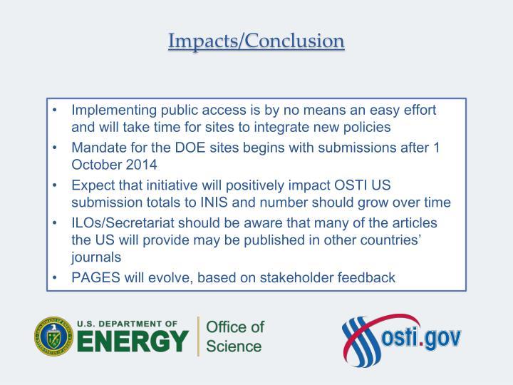 Impacts/Conclusion