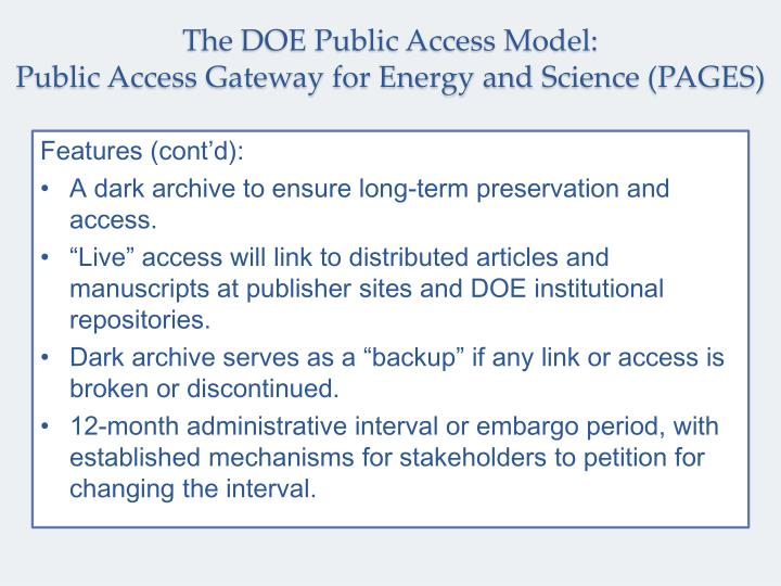 The DOE Public Access Model: