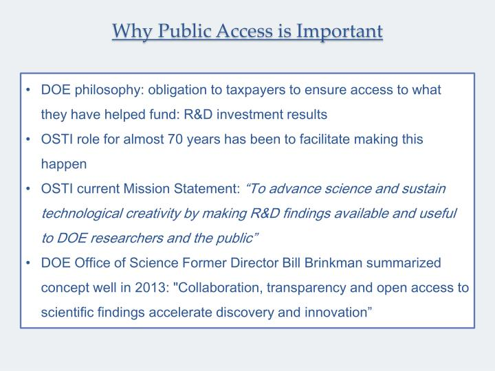 Why public access is important