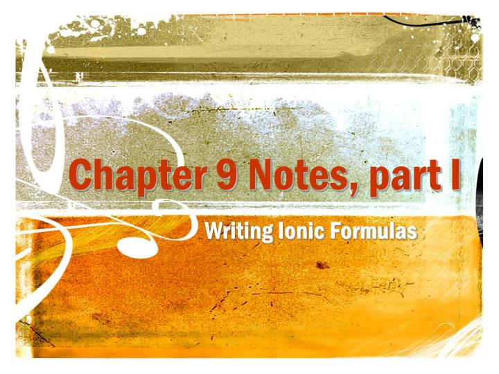Chapter 9 notes part i