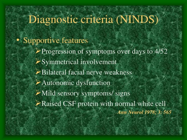 Diagnostic criteria (NINDS)