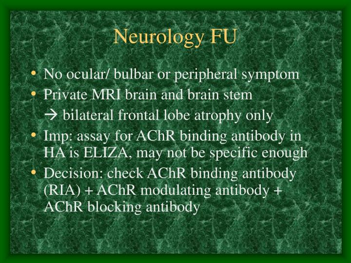 Neurology FU