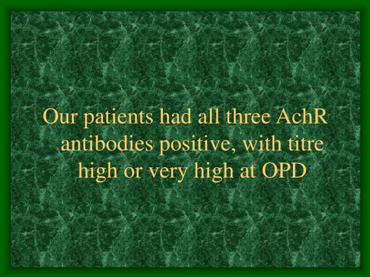 Our patients had all three AchR antibodies positive, with titre high or very high at OPD
