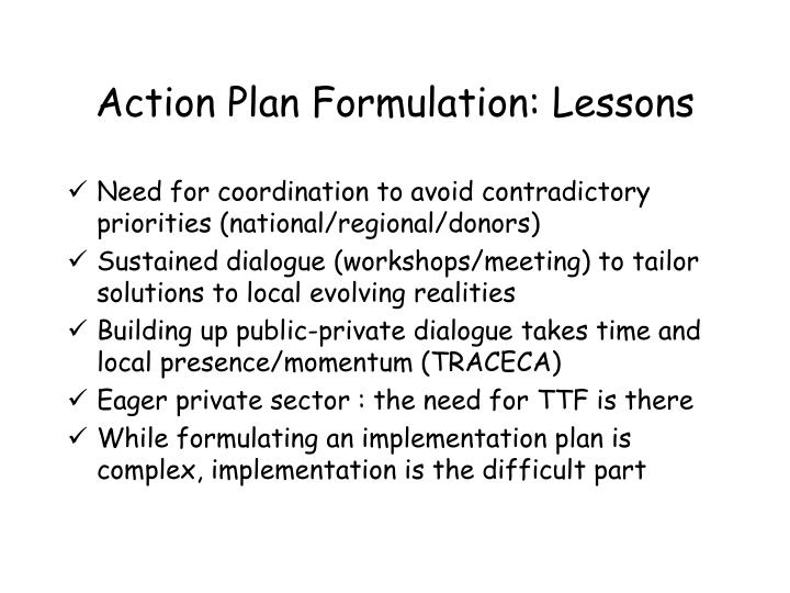 Action Plan Formulation: Lessons